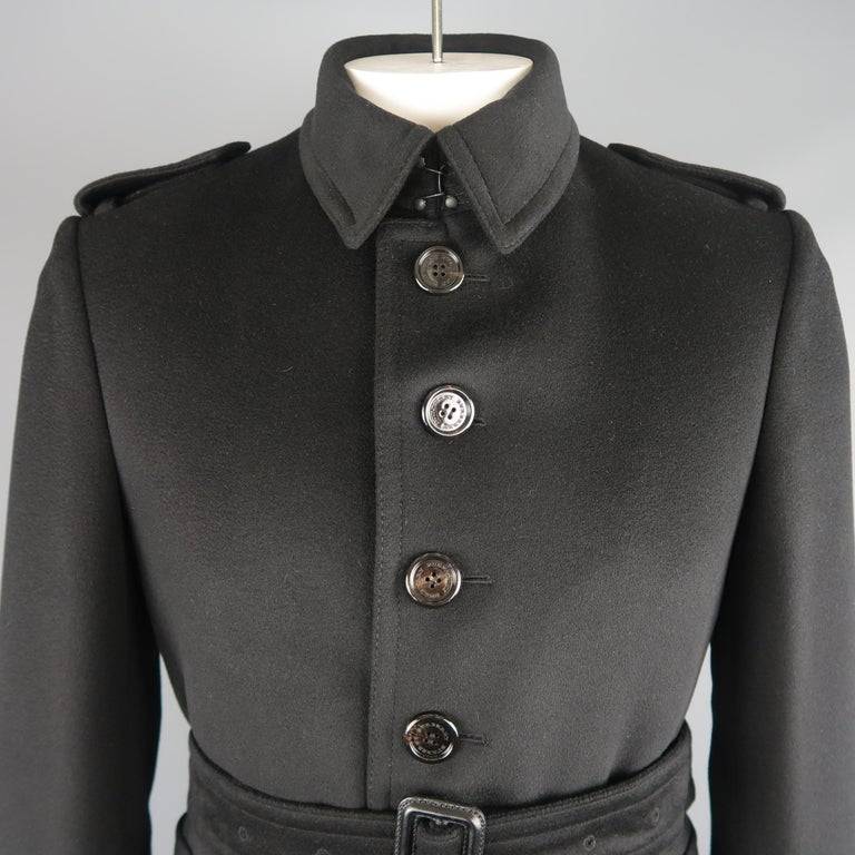 Burberry London Black Solid Wool / Cashmere Trench Coat In Good Condition For Sale In San Francisco, CA