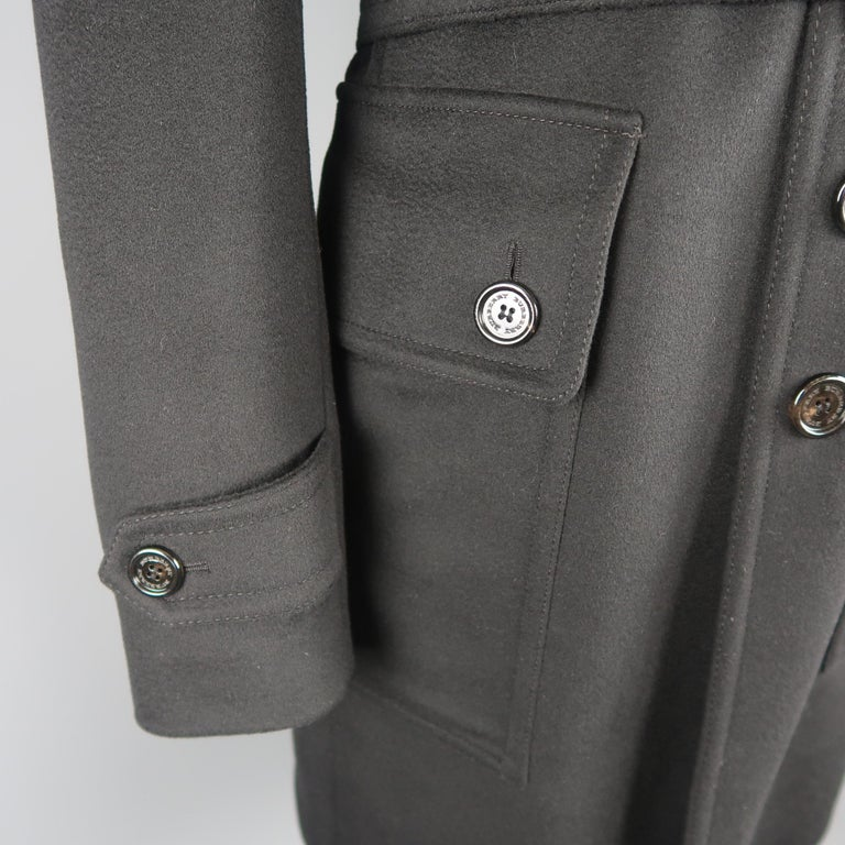 Burberry London Black Solid Wool / Cashmere Trench Coat For Sale 1