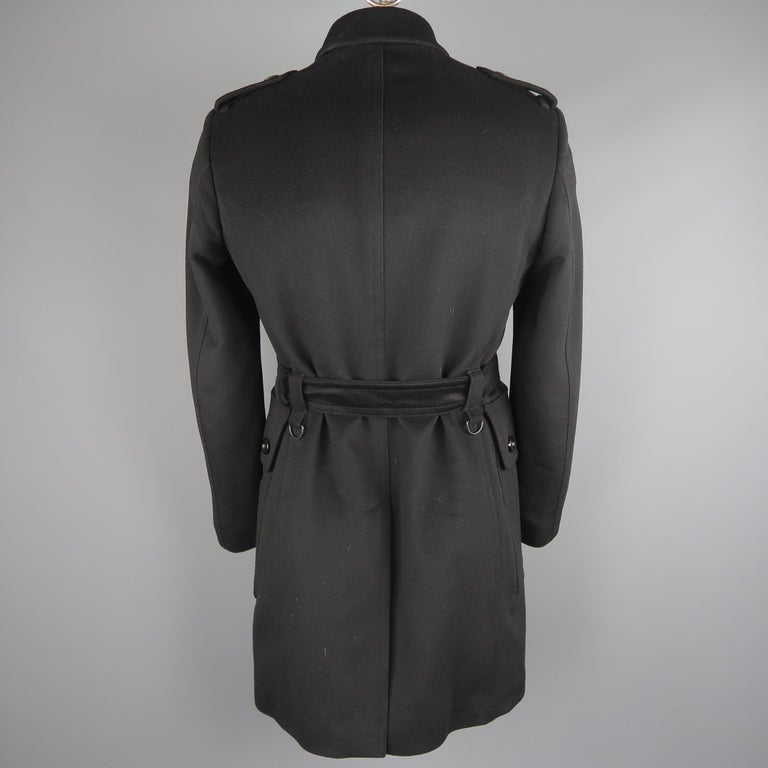 Burberry London Black Solid Wool / Cashmere Trench Coat For Sale 3