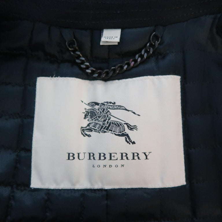 Burberry London Black Solid Wool / Cashmere Trench Coat For Sale 5