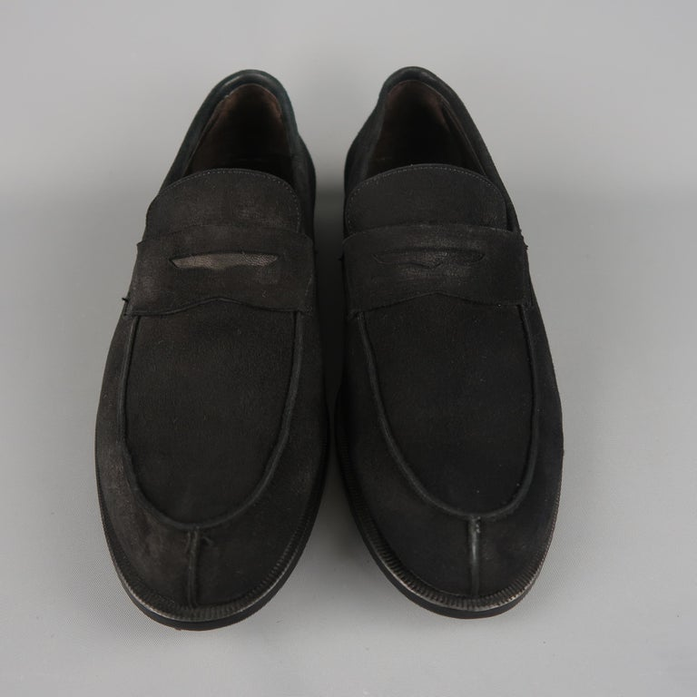BRUNO MAGLI Size 10.5 Black Suede Penny Loafers Shoes at ...