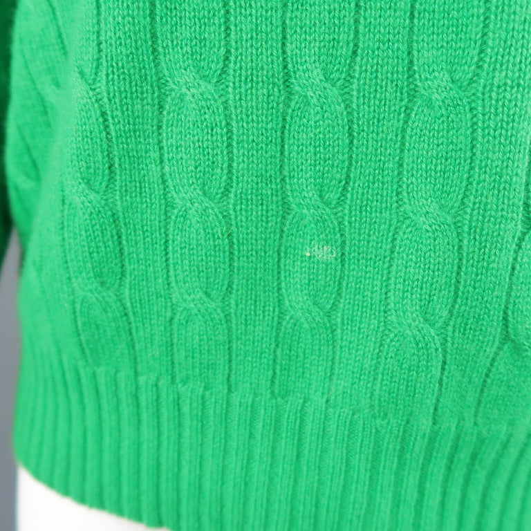 Ralph Lauren Green Cable Knit Cashmere Sweater At 1stdibs