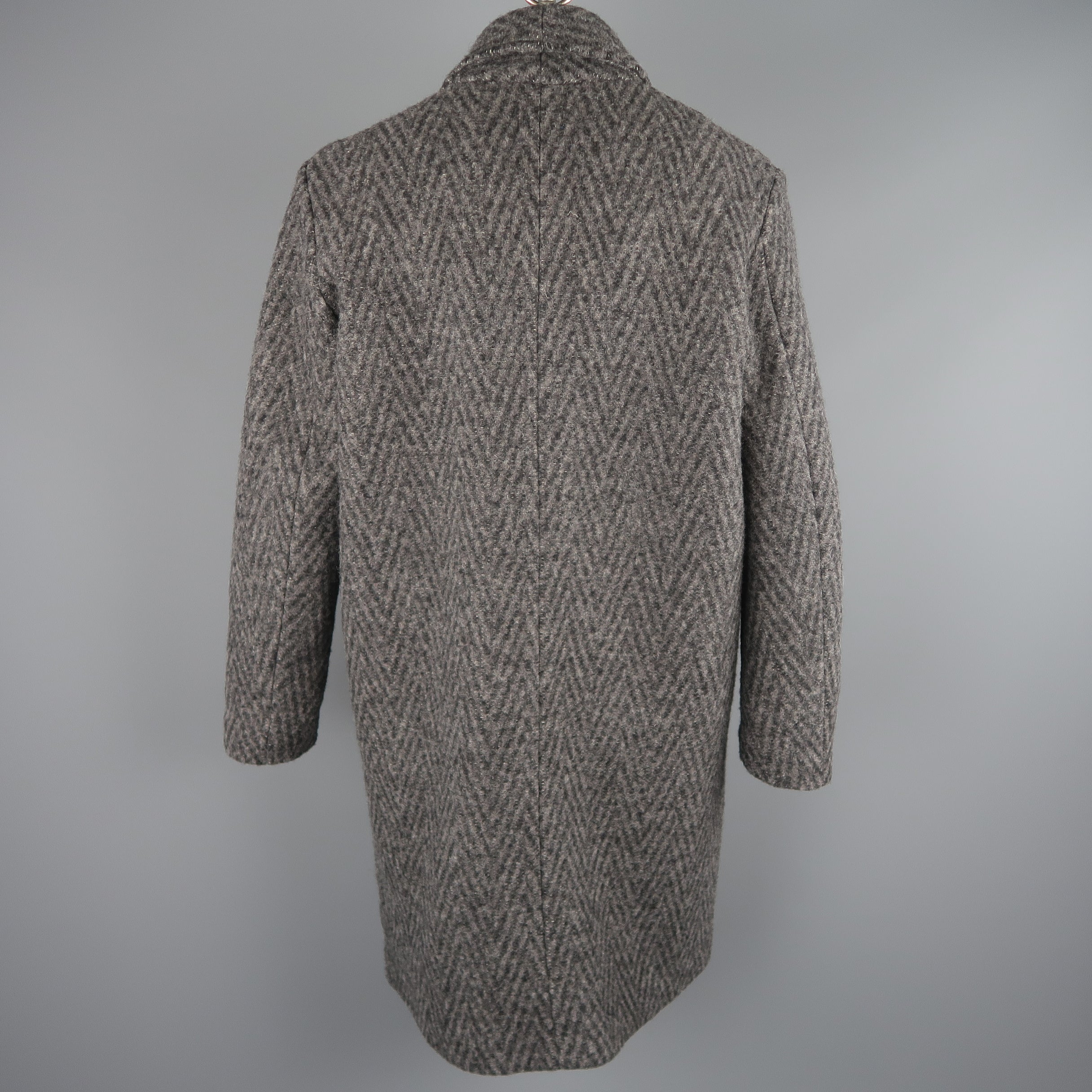 18259059 Levi's Made and Crafted Charcoal Gray Chevron Wool Shawl Collar Lapel Coat  at 1stdibs