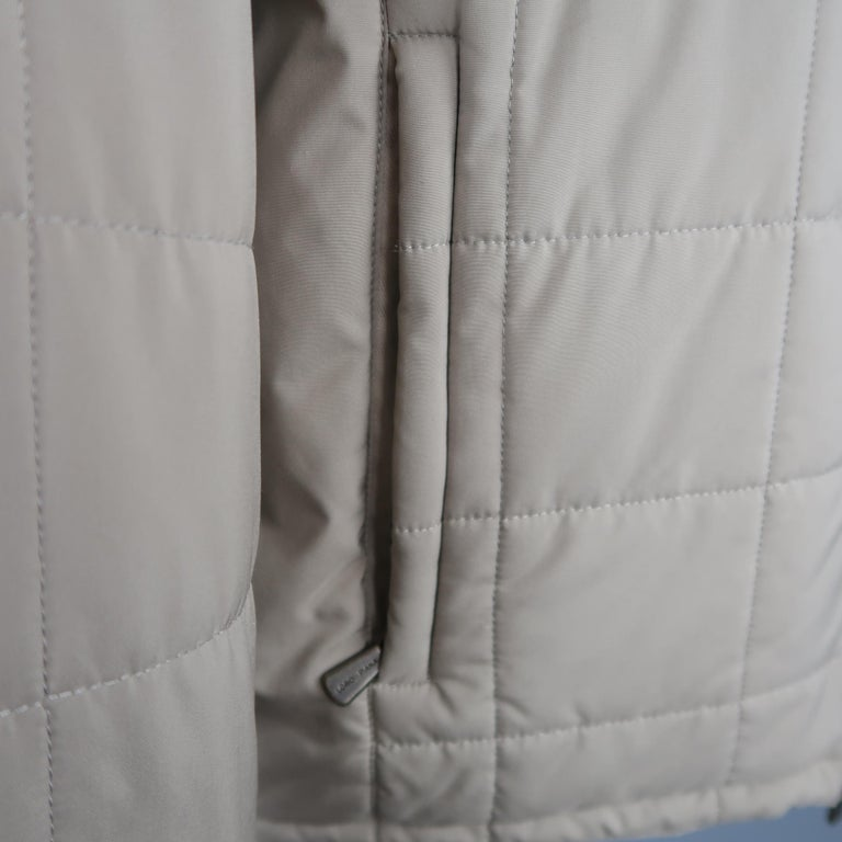 Women's Loro Piana Large - Beige Quilted Suede Trim Jacket For Sale