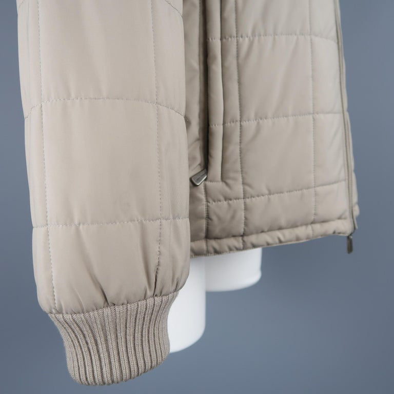 Loro Piana Large - Beige Quilted Suede Trim Jacket For Sale 1