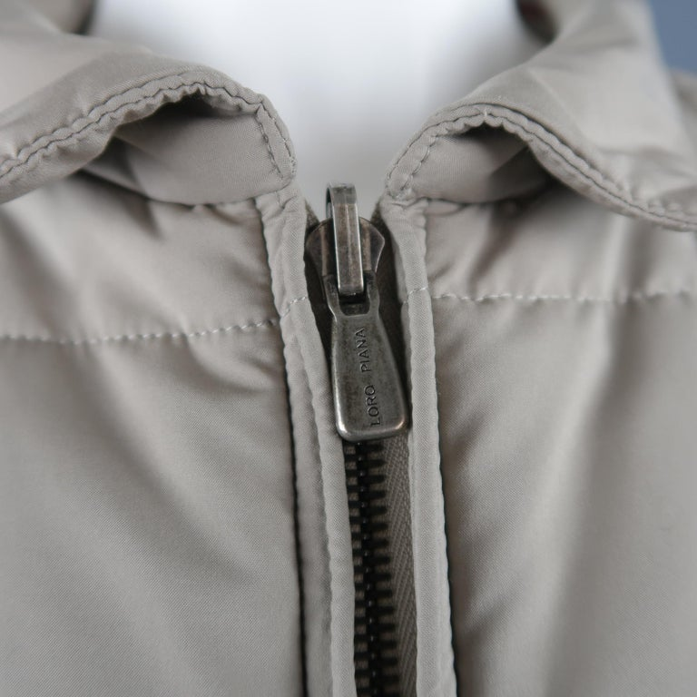 Loro Piana Large - Beige Quilted Suede Trim Jacket In Good Condition For Sale In San Francisco, CA