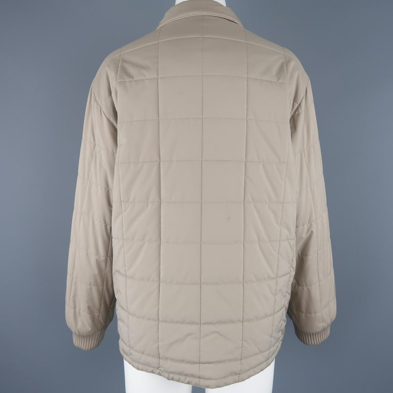 Loro Piana Large - Beige Quilted Suede Trim Jacket For Sale 3
