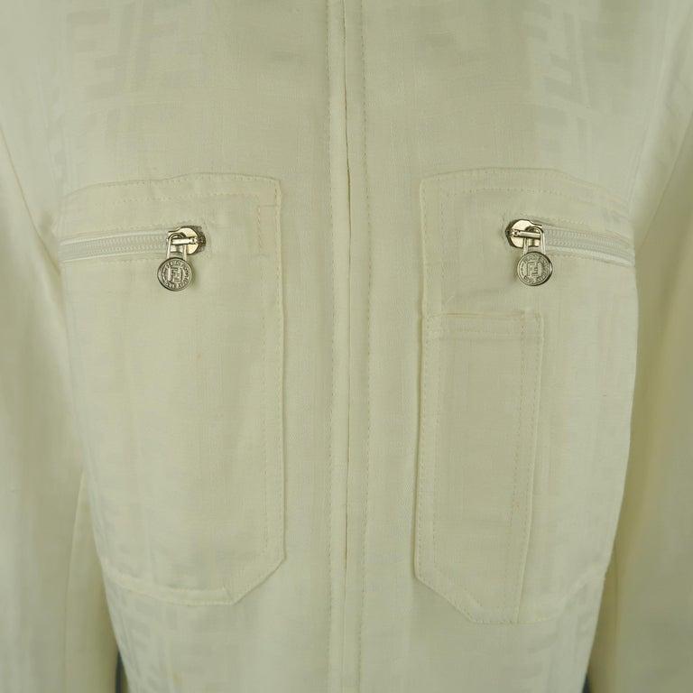 Gray Fendi Cream Zucca Monogram Print Collared Zip Jacket For Sale