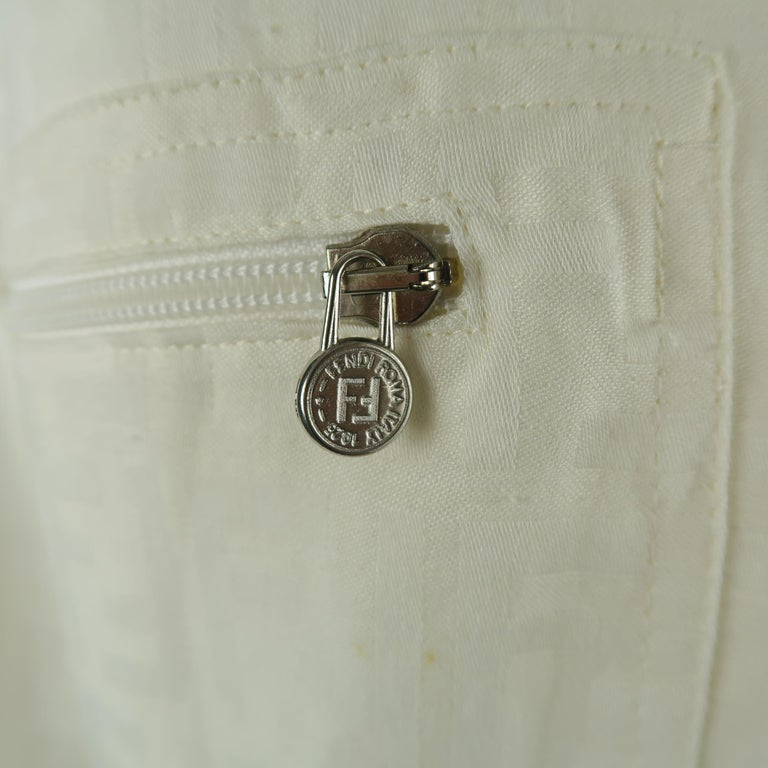 Fendi Cream Zucca Monogram Print Collared Zip Jacket In Fair Condition For Sale In San Francisco, CA