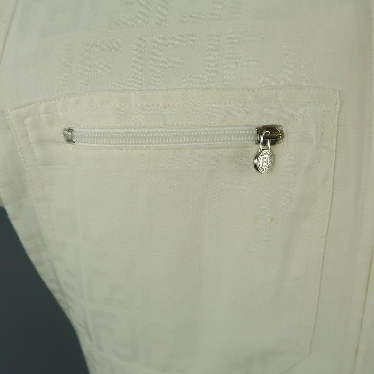 Women's Fendi Cream Zucca Monogram Print Collared Zip Jacket For Sale
