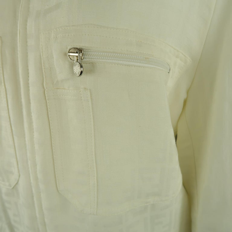 Fendi Cream Zucca Monogram Print Collared Zip Jacket For Sale 2