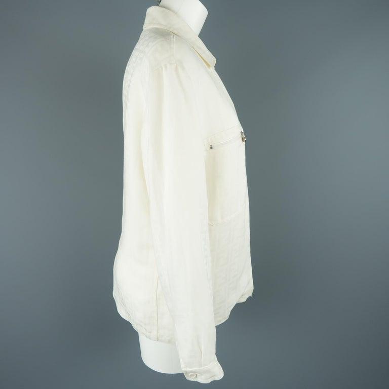 Fendi Cream Zucca Monogram Print Collared Zip Jacket For Sale 3