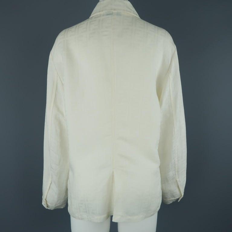 Fendi Cream Zucca Monogram Print Collared Zip Jacket For Sale 4