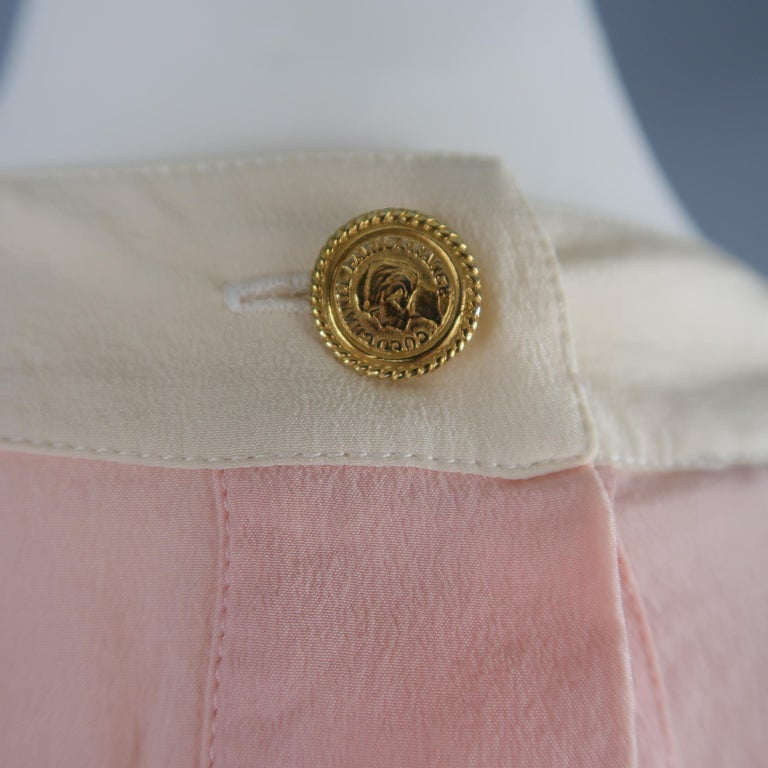 Chanel Pink and Cream Sleeveless Collar Silk Blouse For Sale 1