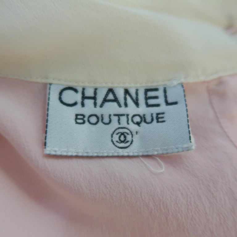 Chanel Pink and Cream Sleeveless Collar Silk Blouse For Sale 2