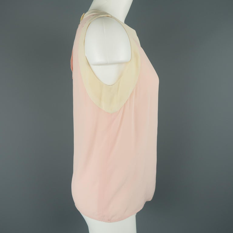 White Chanel Pink and Cream Sleeveless Collar Silk Blouse For Sale