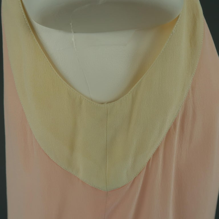 Chanel Pink and Cream Sleeveless Collar Silk Blouse In Fair Condition For Sale In San Francisco, CA