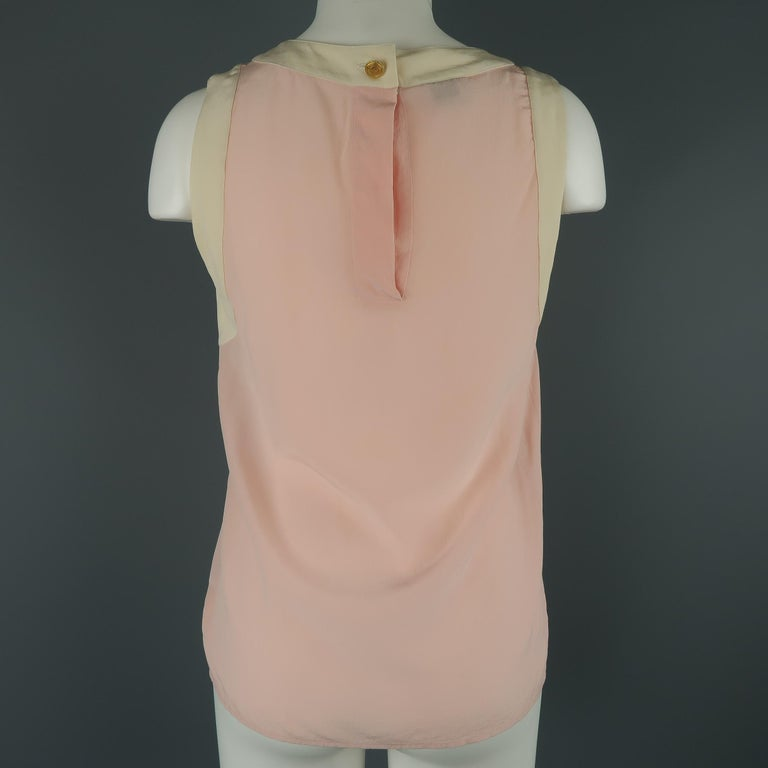 Chanel Pink and Cream Sleeveless Collar Silk Blouse For Sale 3
