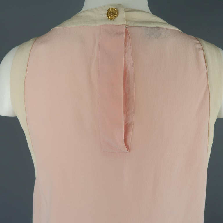 Chanel Pink and Cream Sleeveless Collar Silk Blouse For Sale 4