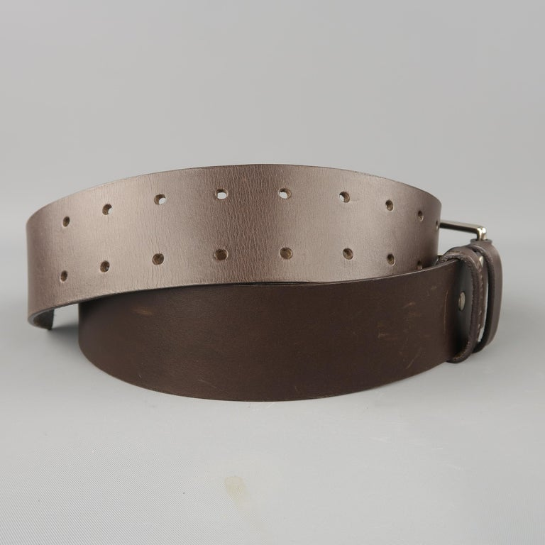 UMIT BENAN Belt - Size 34 Dark Brown Leather Silver Double Prong Buckle In New Condition For Sale In San Francisco, CA