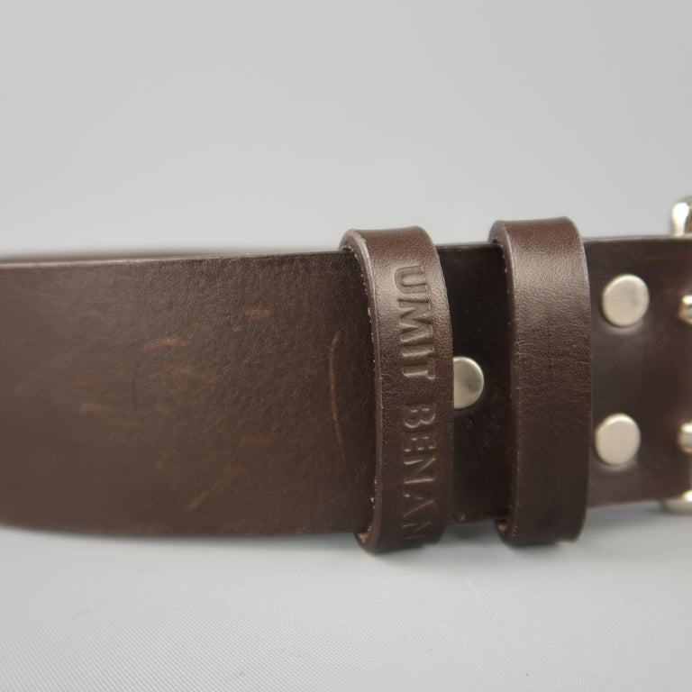Black UMIT BENAN Belt - Size 34 Dark Brown Leather Silver Double Prong Buckle For Sale