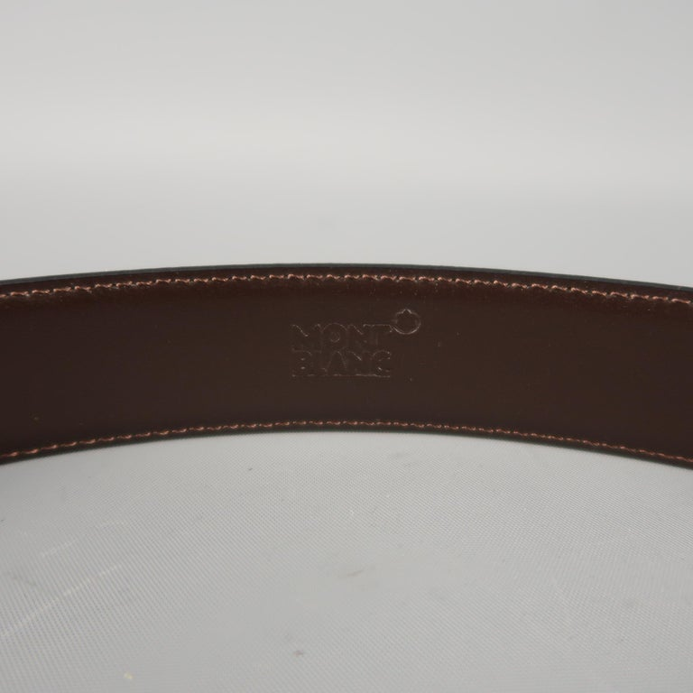 MONT BLANC Size 40 Black & Brown Reversible Leather Belt For Sale 1