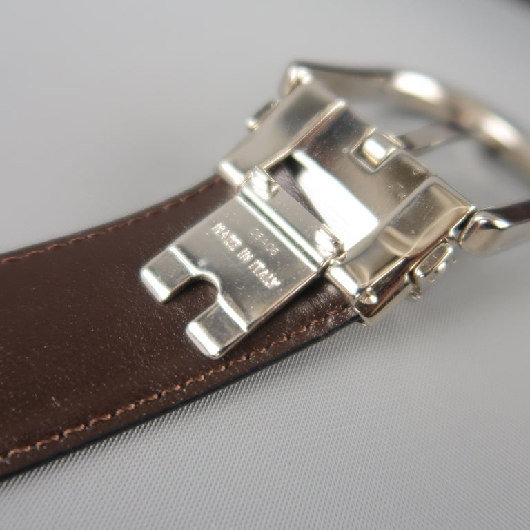 MONT BLANC Size 40 Black & Brown Reversible Leather Belt For Sale 2