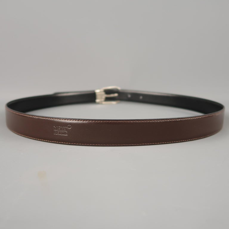 MONT BLANC Size 40 Black & Brown Reversible Leather Belt For Sale 4