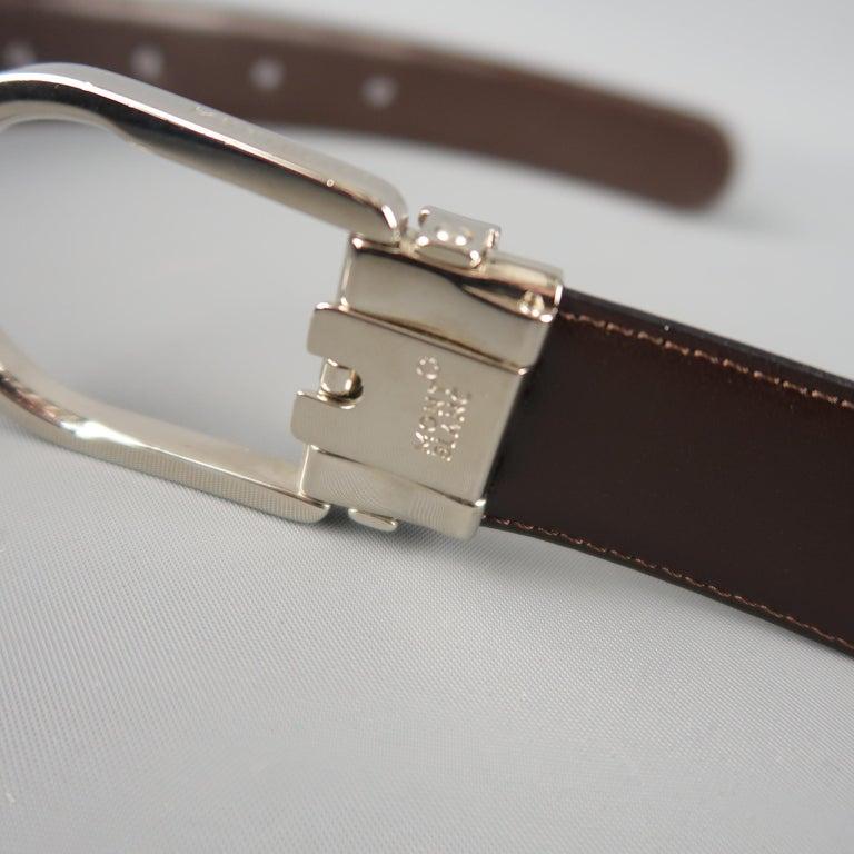 Men's MONT BLANC Size 40 Black & Brown Reversible Leather Belt For Sale