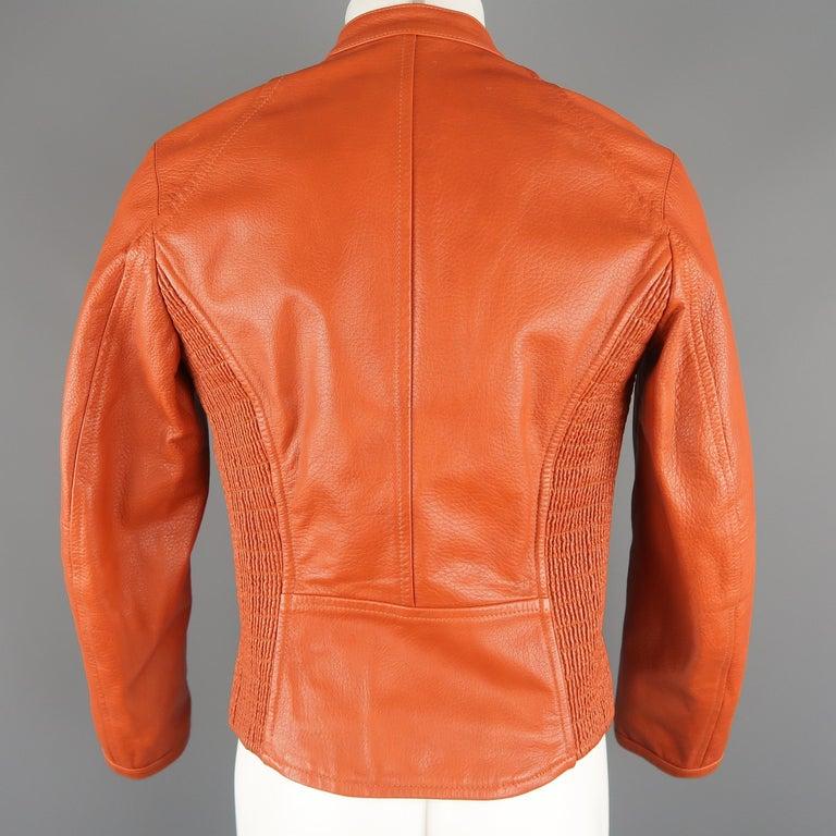 DSQUARED2 40 Orange Textured Leather Zip Sleeve Biker Jacket For Sale 7