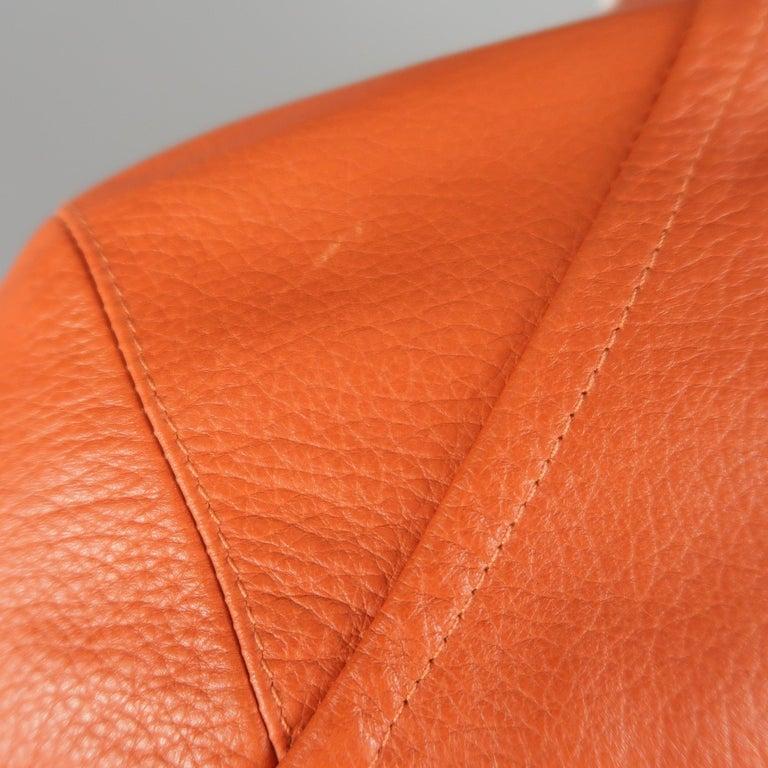 DSQUARED2 40 Orange Textured Leather Zip Sleeve Biker Jacket For Sale 6