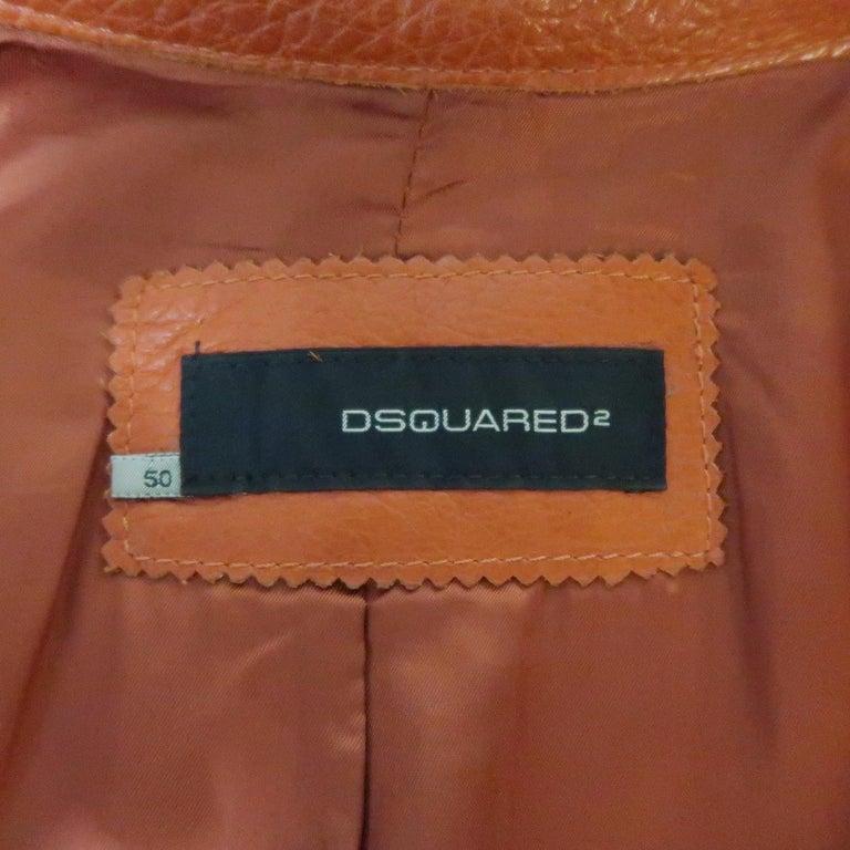 DSQUARED2 40 Orange Textured Leather Zip Sleeve Biker Jacket For Sale 8