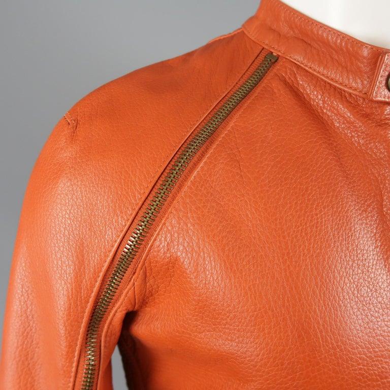 Men's DSQUARED2 40 Orange Textured Leather Zip Sleeve Biker Jacket For Sale