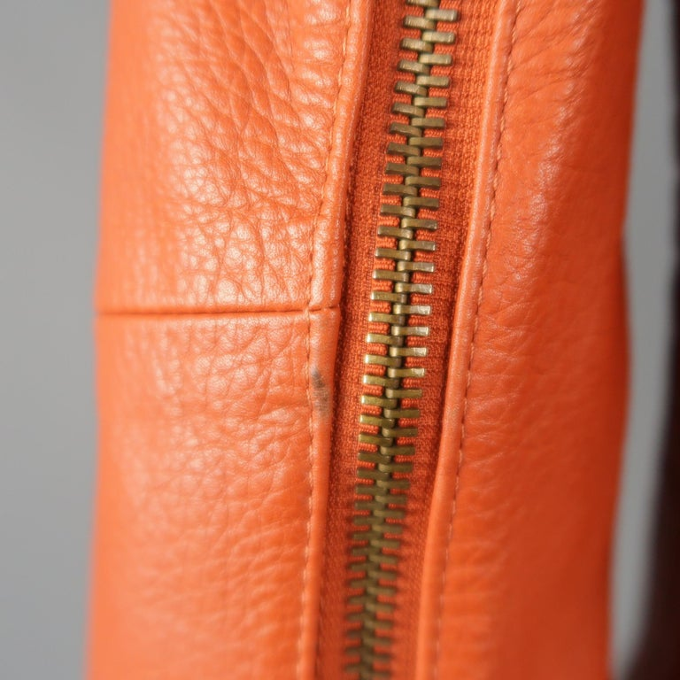 DSQUARED2 40 Orange Textured Leather Zip Sleeve Biker Jacket For Sale 1