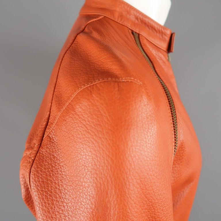 DSQUARED2 40 Orange Textured Leather Zip Sleeve Biker Jacket For Sale 4