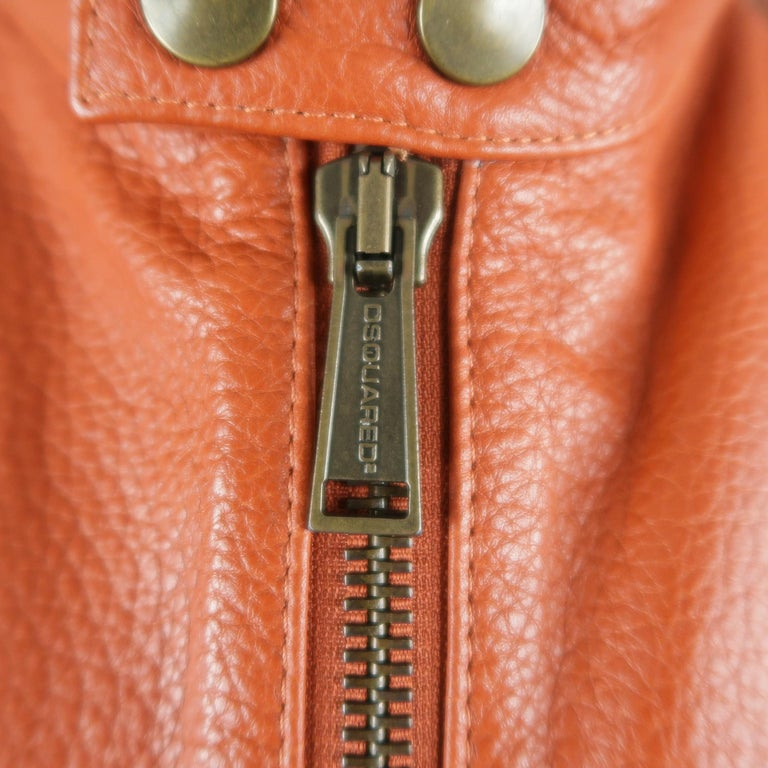 DSQUARED2 40 Orange Textured Leather Zip Sleeve Biker Jacket In Good Condition For Sale In San Francisco, CA