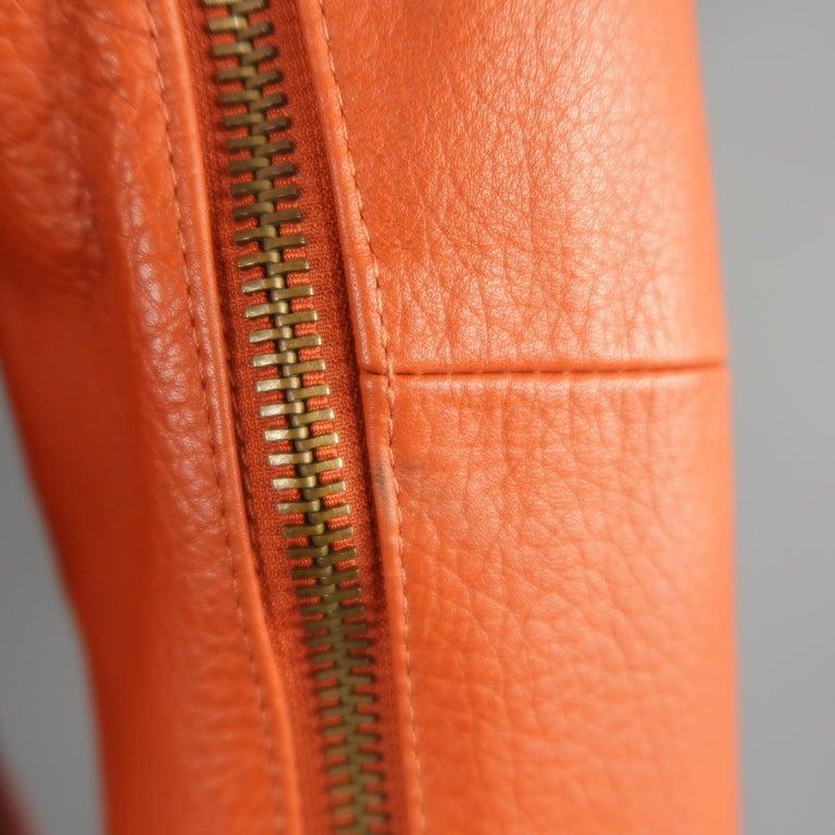 DSQUARED2 40 Orange Textured Leather Zip Sleeve Biker Jacket For Sale 2