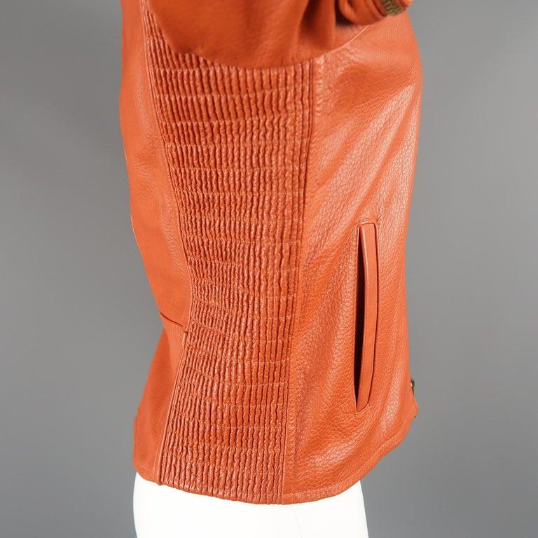 DSQUARED2 40 Orange Textured Leather Zip Sleeve Biker Jacket For Sale 5