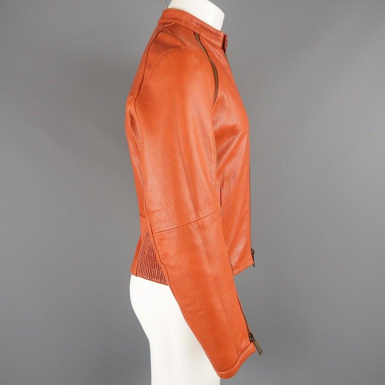 DSQUARED2 40 Orange Textured Leather Zip Sleeve Biker Jacket For Sale 3