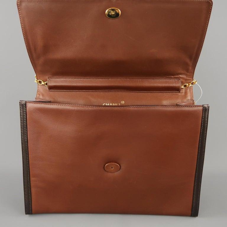 Vintage 80er Jahre CHANEL zwei Braunton Goldketten CC Schultertasche 8