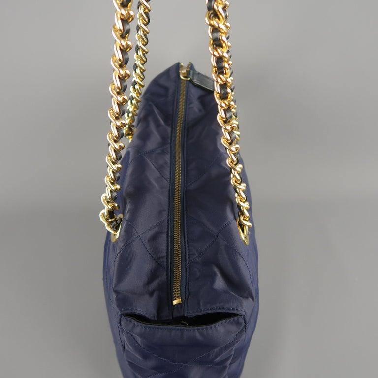 0cc484a4ac83 Prada Vintage Navy Quilted Nylon Gold Chain Straps Shoulder Bag For Sale 3