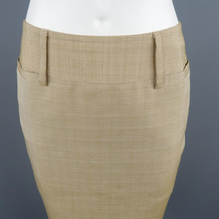 8744f1a057 DOLCE & GABBANA classic pencil skirt, come in beige tone and silk material,  featuring