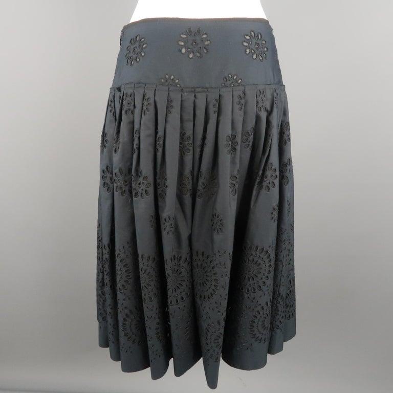 Women's PRADA Size 2 Navy Cotton A-line Eyelet Skirt For Sale