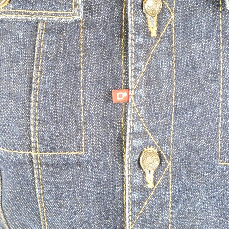 Men's DSQUARED2 38 Indigo Denim Cropped Jacket For Sale