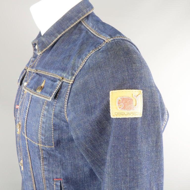 DSQUARED2 38 Indigo Denim Cropped Jacket For Sale 1