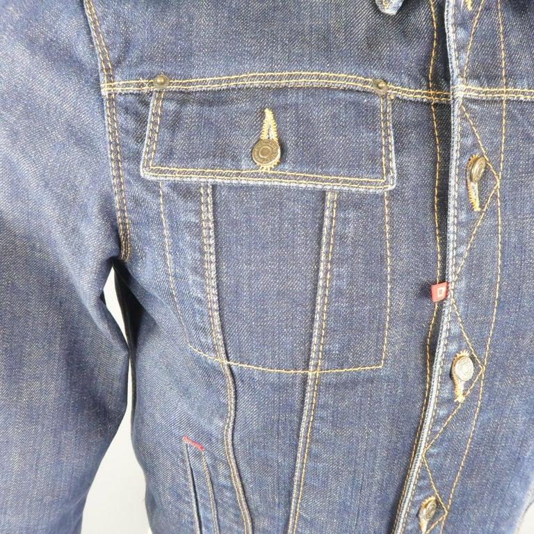 Gray DSQUARED2 38 Indigo Denim Cropped Jacket For Sale