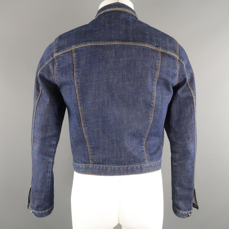 DSQUARED2 38 Indigo Denim Cropped Jacket For Sale 2