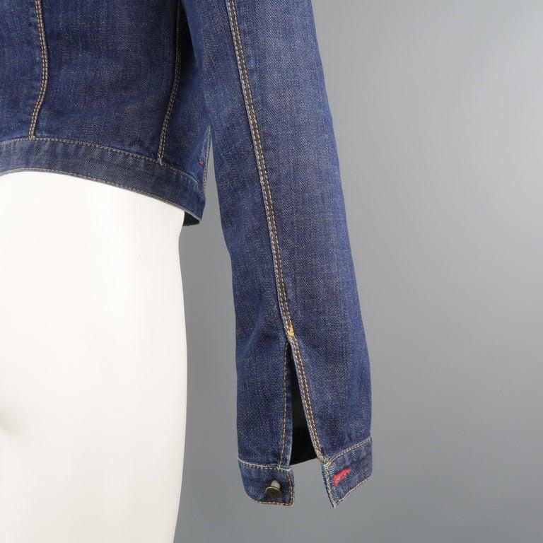 DSQUARED2 38 Indigo Denim Cropped Jacket For Sale 3