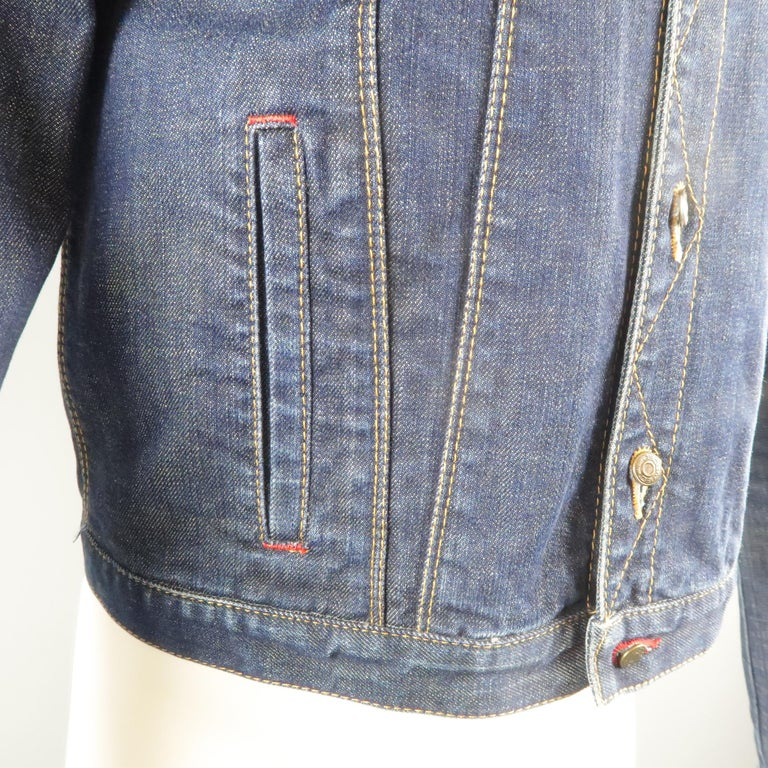 DSQUARED2 38 Indigo Denim Cropped Jacket In Excellent Condition For Sale In San Francisco, CA