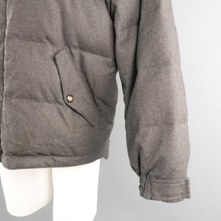 Gray LORO PIANA M Charcoal Quilted Wool Jacket For Sale